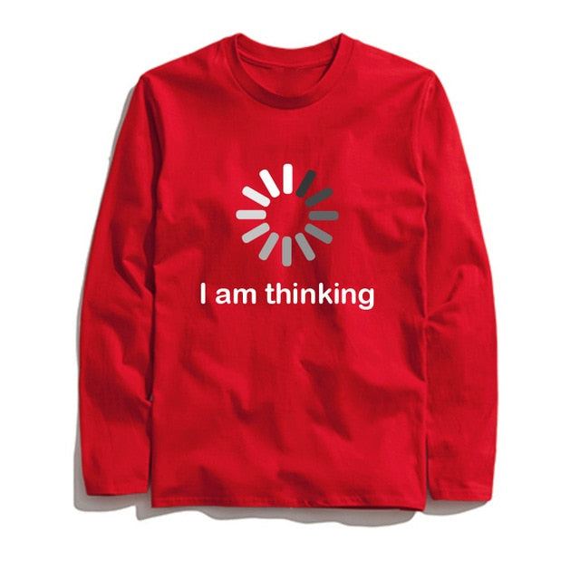 100% Cotton Thinking Printed Men T-Shirt Long Sleeve