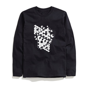 100% Cotton 3D Block Printed Men T-Shirt Long Sleeve
