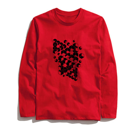 Image of 100% Cotton 3D Block Printed Men T-Shirt Long Sleeve