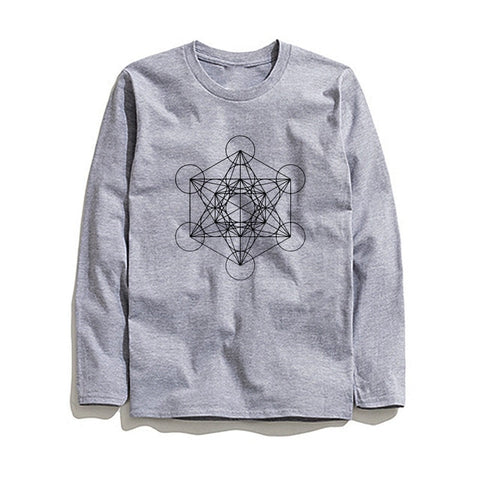 100% Cotton Geometric Printed Men T-Shirt Long Sleeve