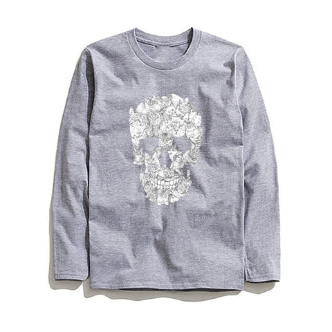 Image of 100% Cotton Skull Printed Men T-Shirt Long Sleeve