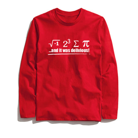 100% Cotton Math Printed Men T-Shirt Long Sleeve