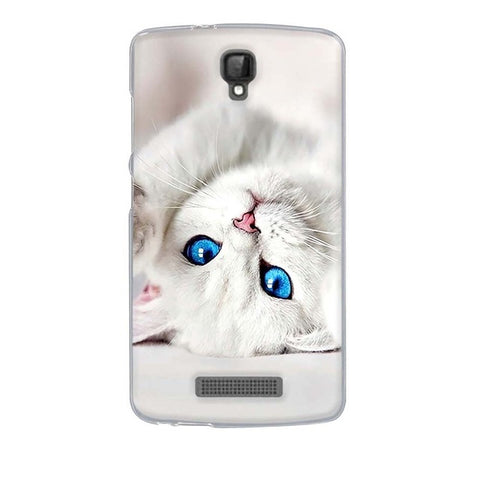 White Cat ZTE Blade L5 Cell Phone Protective Case Cover
