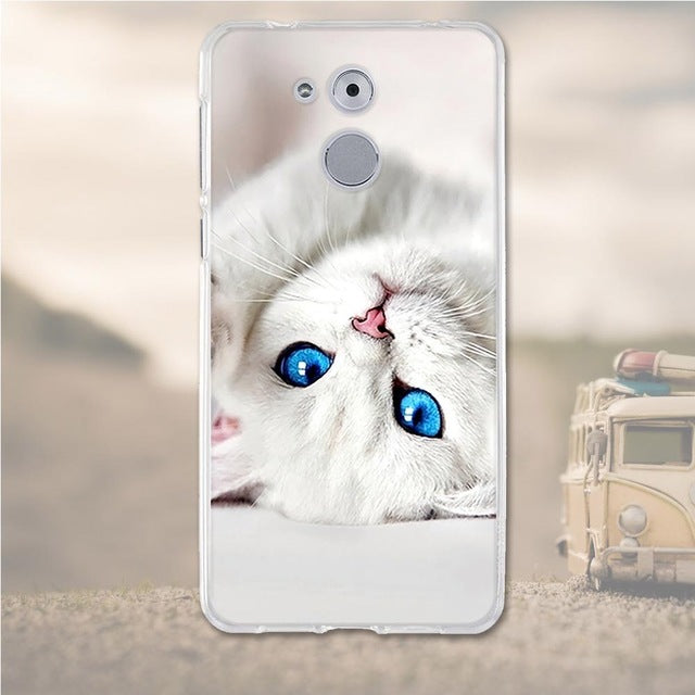 White Cat Huawei Nova Honor 6C Cell Phone Protective Case Cover