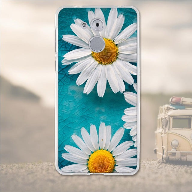 White Flowers Huawei Nova Honor 6C Cell Phone Protective Case Cover