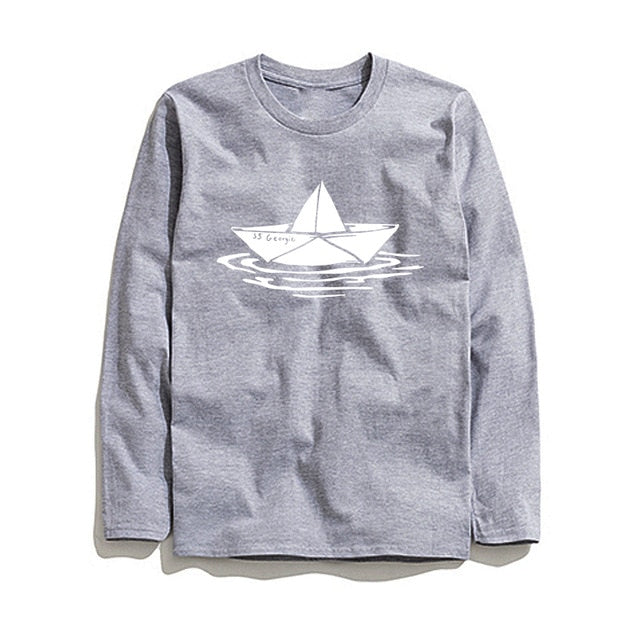 100% Cotton Boat Printed Men T-Shirt Long Sleeve