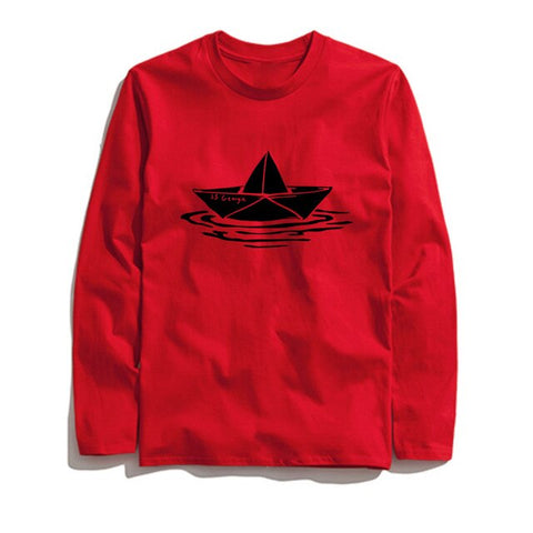Image of 100% Cotton Boat Printed Men T-Shirt Long Sleeve
