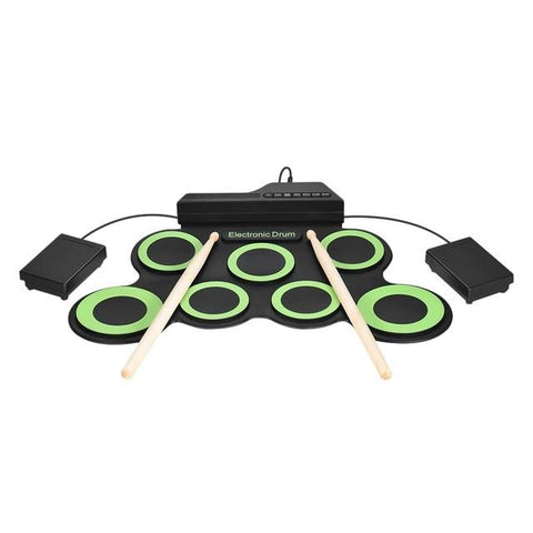 Image of Portable Roll Up Electronic Drum Pad Set with Drum Sticks and Pedal