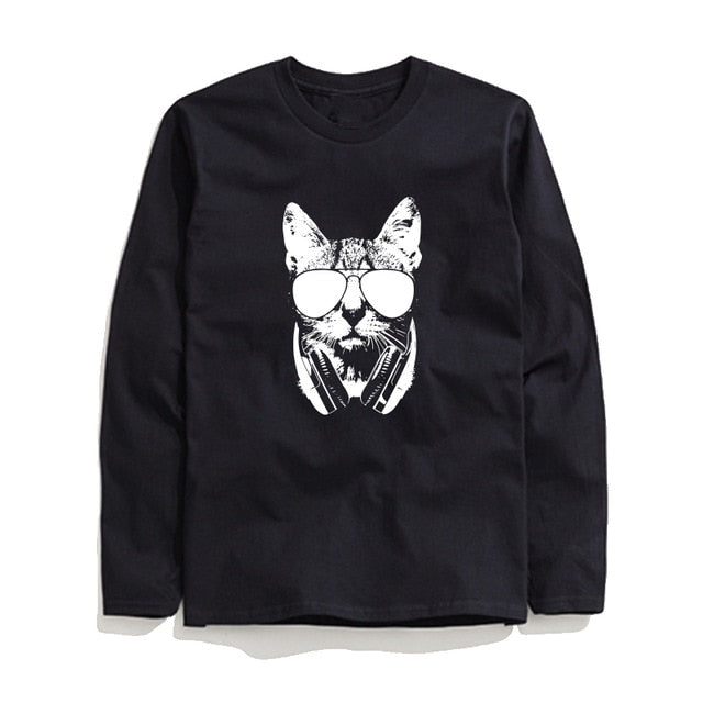 100% Cotton Cool Cat Printed Men T-Shirt Long Sleeve