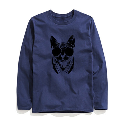 Image of 100% Cotton Cool Cat Printed Men T-Shirt Long Sleeve