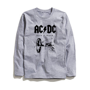 100% Cotton AC DC Printed Men T-Shirt Long Sleeve