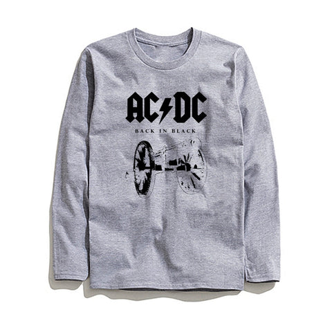 Image of 100% Cotton AC DC Printed Men T-Shirt Long Sleeve
