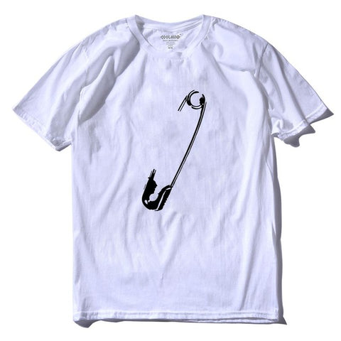Image of Safety Pin 100% Cotton O-neck Short Sleeve Knitted Men T Shirt