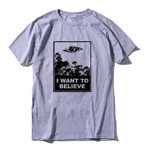 I Believe 100% Cotton O-neck Short Sleeve Knitted Men T Shirt