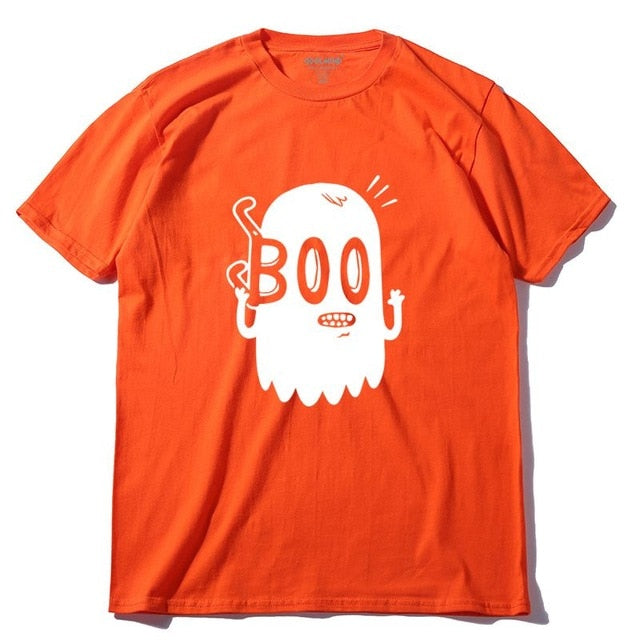Boo Print 100% Cotton O-Neck Short Sleeve Knitted Men T Shirt
