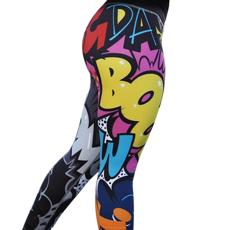 Digital Print High Waist Push Up Fitness Leggings