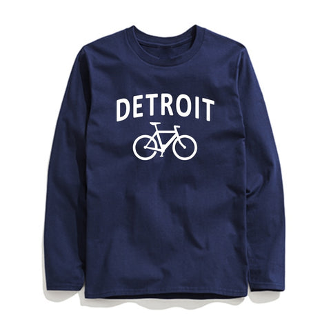 Image of 100% Cotton Detroit Printed Men T-Shirt Long Sleeve