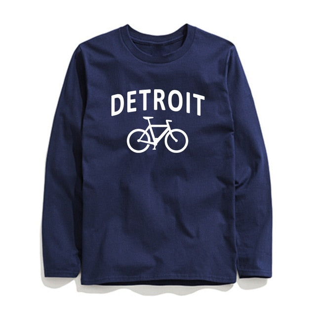 100% Cotton Detroit Printed Men T-Shirt Long Sleeve