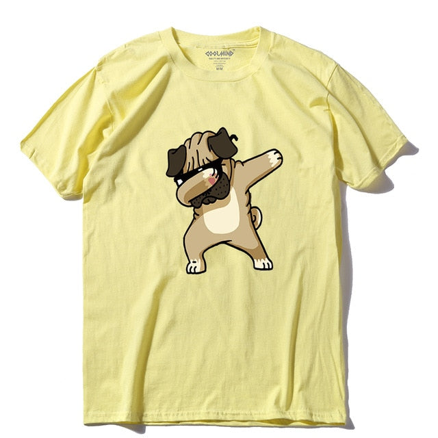 Dancing Dog 100% Cotton O-Neck Short Sleeve Knitted Men T Shirt