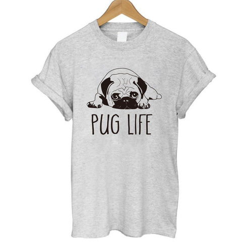 Image of 100% Cotton Pug Life Print Women T-Shirt Short Sleeve