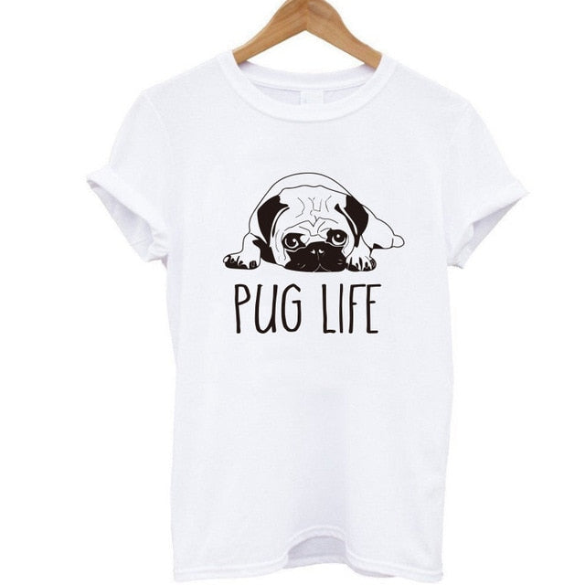100% Cotton Pug Life Print Women T-Shirt Short Sleeve