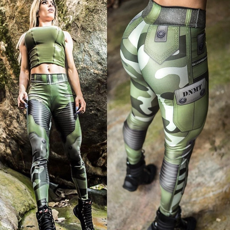 Camouflage Print High Waist Push Up Leggings
