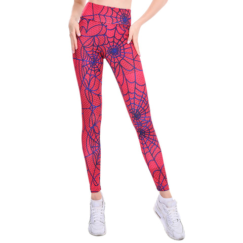 Image of Spider Web Print High Waist Push Up Leggings