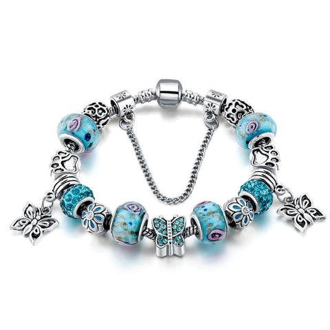 Image of Blue Butterfly Crystal Charm Bracelet