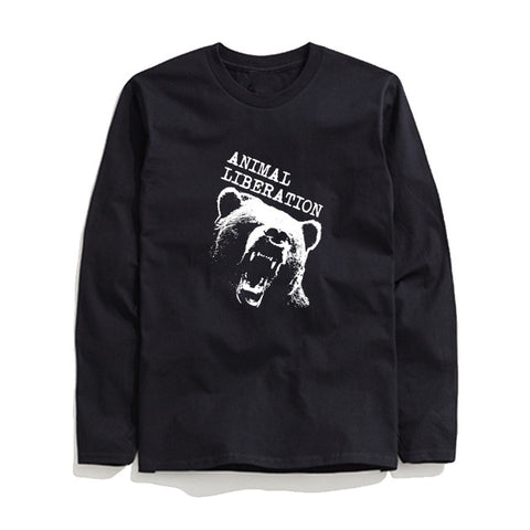 Image of 100% Cotton Animal Liberation Men T-Shirt Long Sleeve