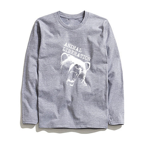 100% Cotton Animal Liberation Men T-Shirt Long Sleeve