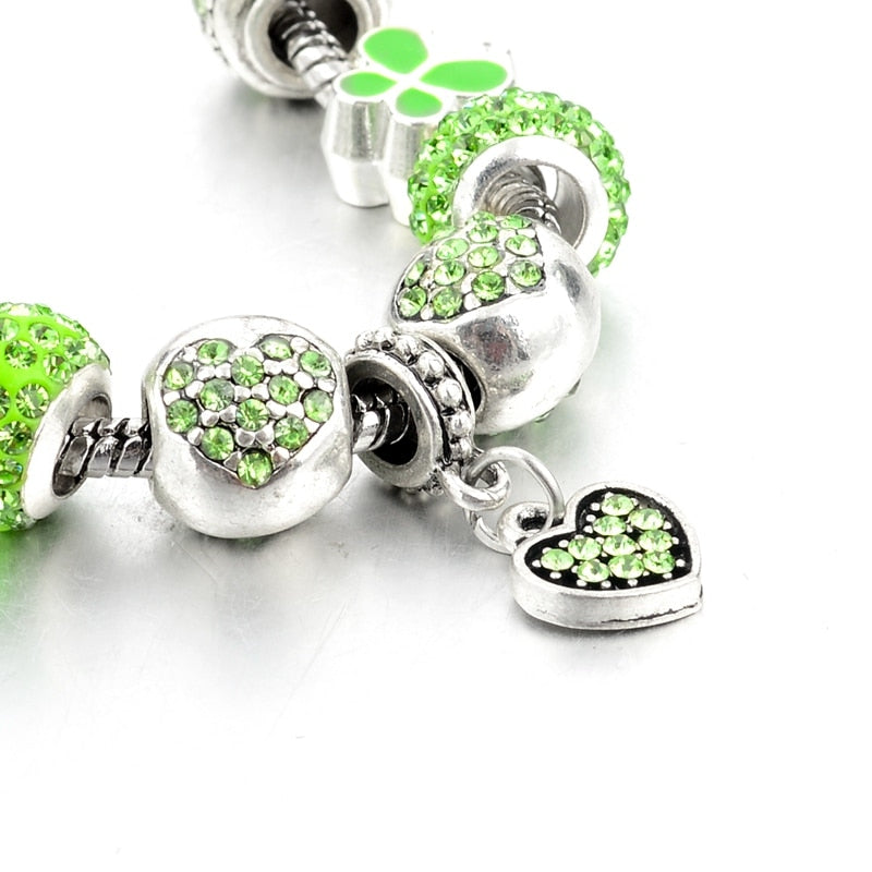 Green Heart Crystal Charm Bracelet