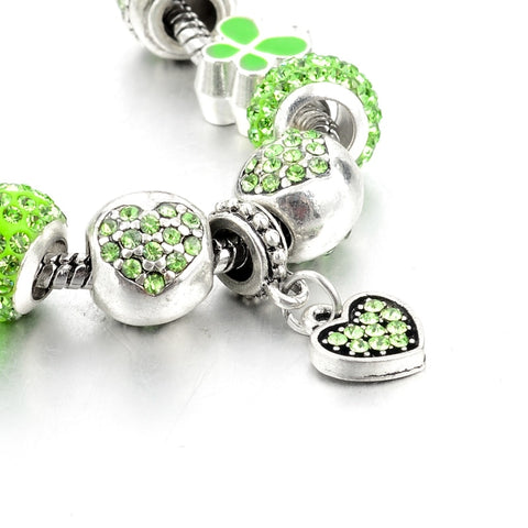Image of Green Heart Crystal Charm Bracelet