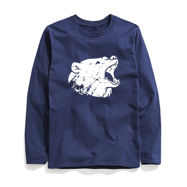 100% Cotton Bear Printed Men T-Shirt Long Sleeve
