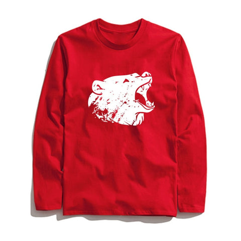Image of 100% Cotton Bear Printed Men T-Shirt Long Sleeve