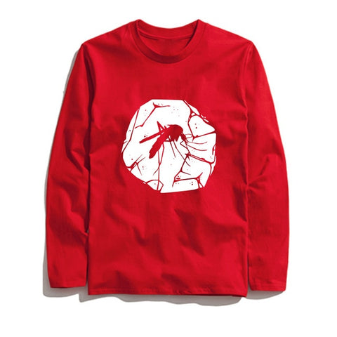 100% Cotton Mosquito Fossil Printed Men T-Shirt Long Sleeve