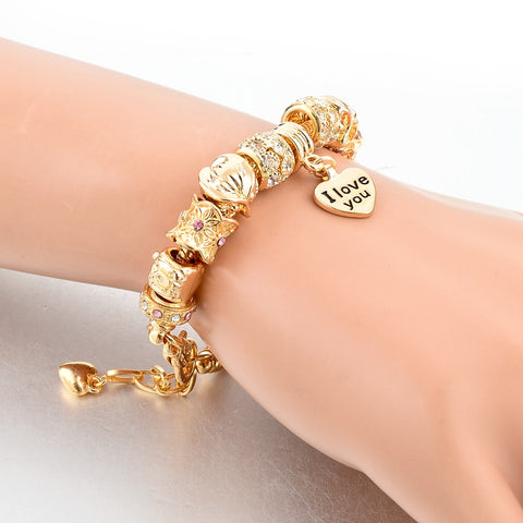 Image of Gold I Love You Crystal Charm Bracelet