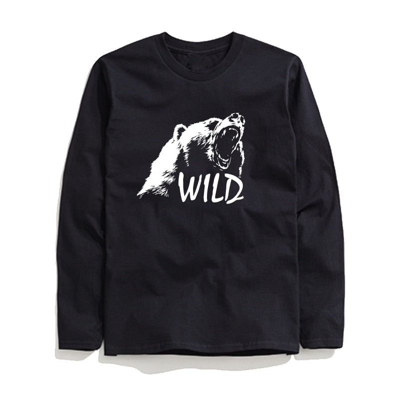 100% Cotton Wild Printed Men T-Shirt Long Sleeve