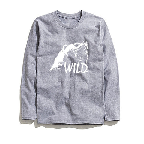 Image of 100% Cotton Wild Printed Men T-Shirt Long Sleeve