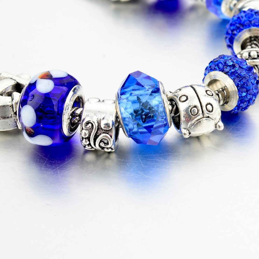 Blue Heart Crystal Charm Bracelet