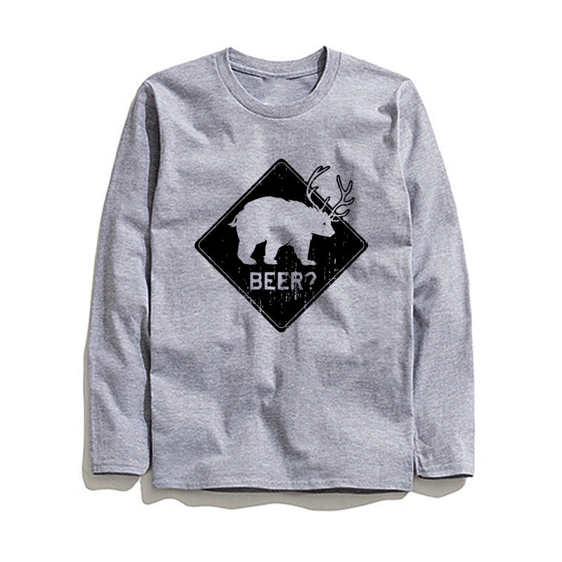 100% Cotton Beer Printed Men T-Shirt Long Sleeve
