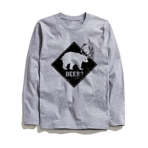 Image of 100% Cotton Beer Printed Men T-Shirt Long Sleeve