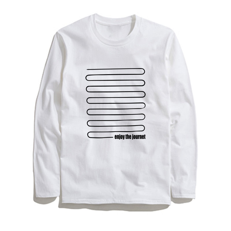 100% Cotton Journet Printed Men T-Shirt Long Sleeve