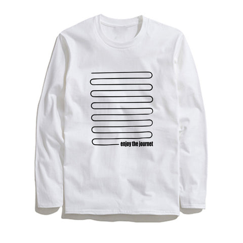 Image of 100% Cotton Journet Printed Men T-Shirt Long Sleeve