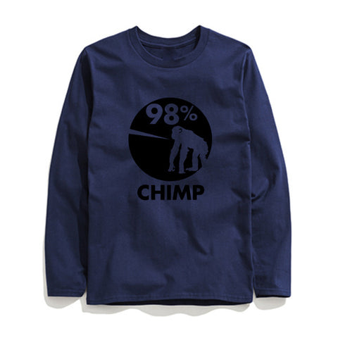Image of 100% Cotton 98% Chimp Printed Men T-Shirt Long Sleeve