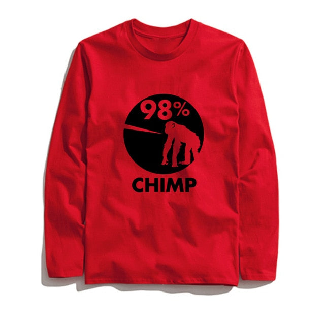 100% Cotton 98% Chimp Printed Men T-Shirt Long Sleeve