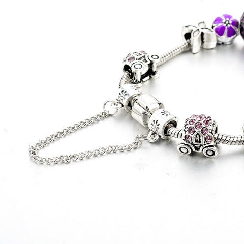 Purple Crystal Silver Cross Charm Bracelet