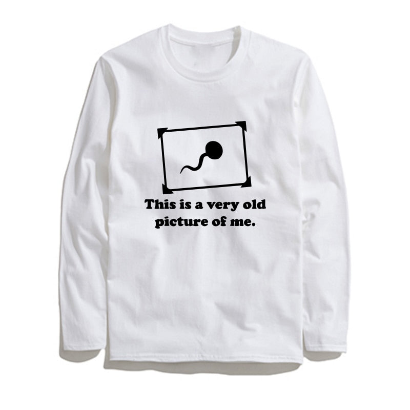 100% Cotton Old Photo Printed Men T-Shirt Long Sleeve
