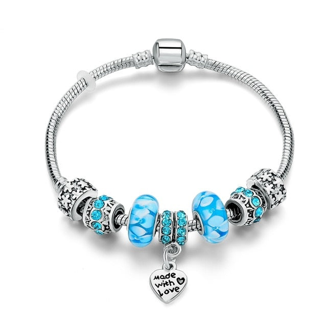 Made With Love Heart Crystal Charm Bracelet