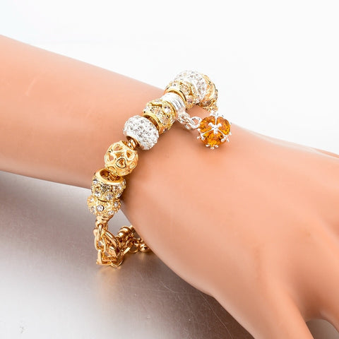 Image of Gold Chain Crystal Charm Bracelet