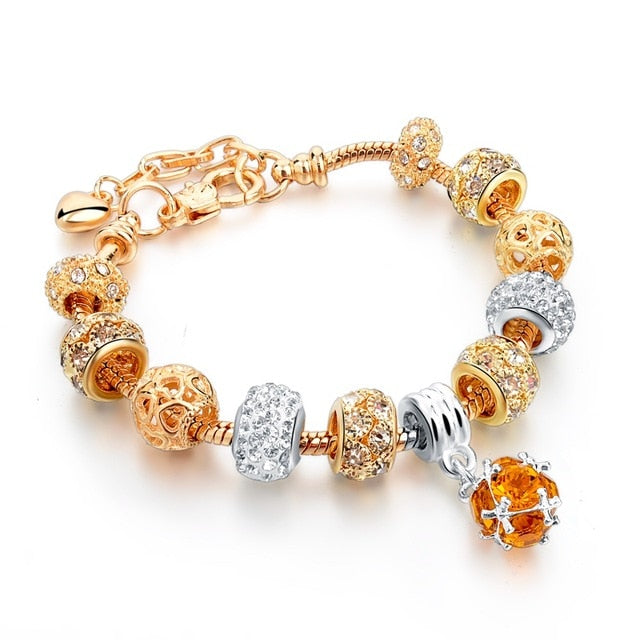Gold Chain Crystal Charm Bracelet